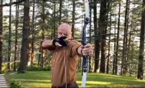 Anupam Kher tries archery for the first time in hometown Shimla. Watch video