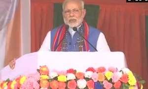 Prime Minister Narendra Modi addresses a public rally in