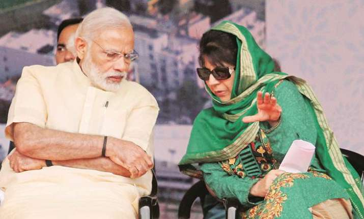 PM Modi with Mehbooba Mufti before the end of BJP-PDP