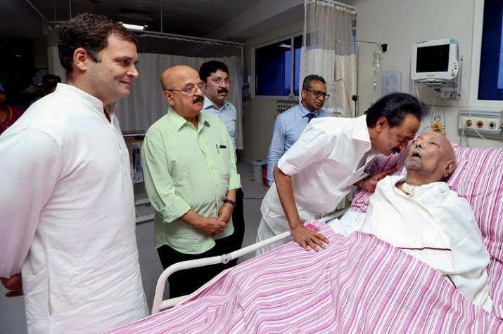Congress President Rahul Gandhi visits the ailing DMK