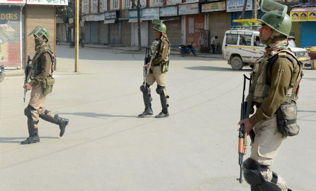 Security personnel patrolling after a strike was called in