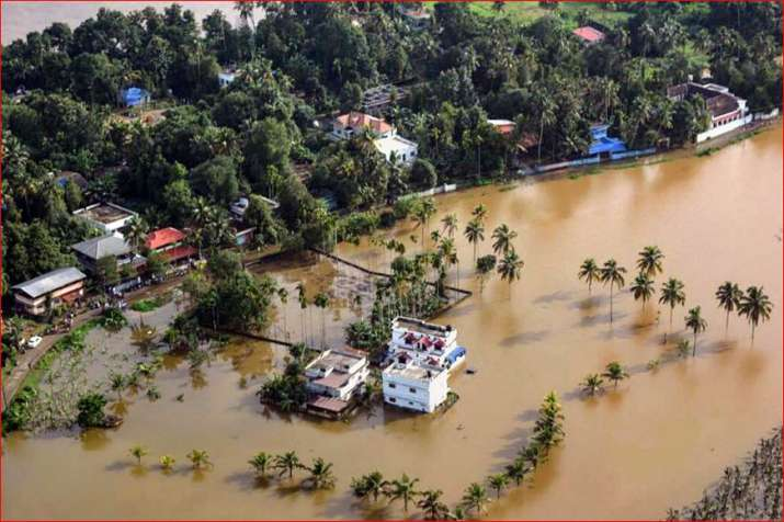 An aeriel view of the flooded locality of Aluva after heavy