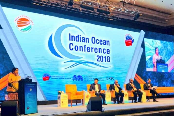 Sushma Swaraj addressing Indian Ocean Conference in Hanoi,