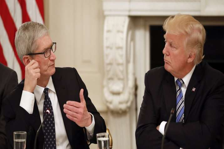 US President Donald Trump with Apple CEO Tim Cook.