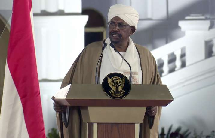 In this file image taken from video, Sudan's President Omar al-Bashir speaks at the Presidential Pal