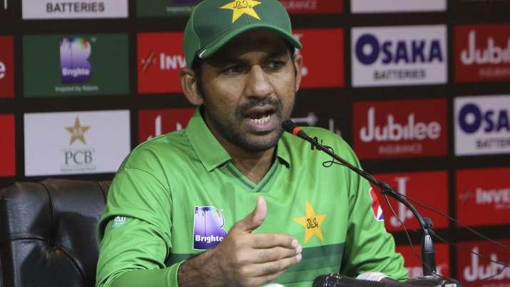 Pakistani captain Sarfaraz Ahmed speaks to reporters ahead