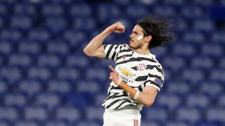 Cavani scored twice in each game while De Gea produced some fine saves as United advanced 8-5 on agg